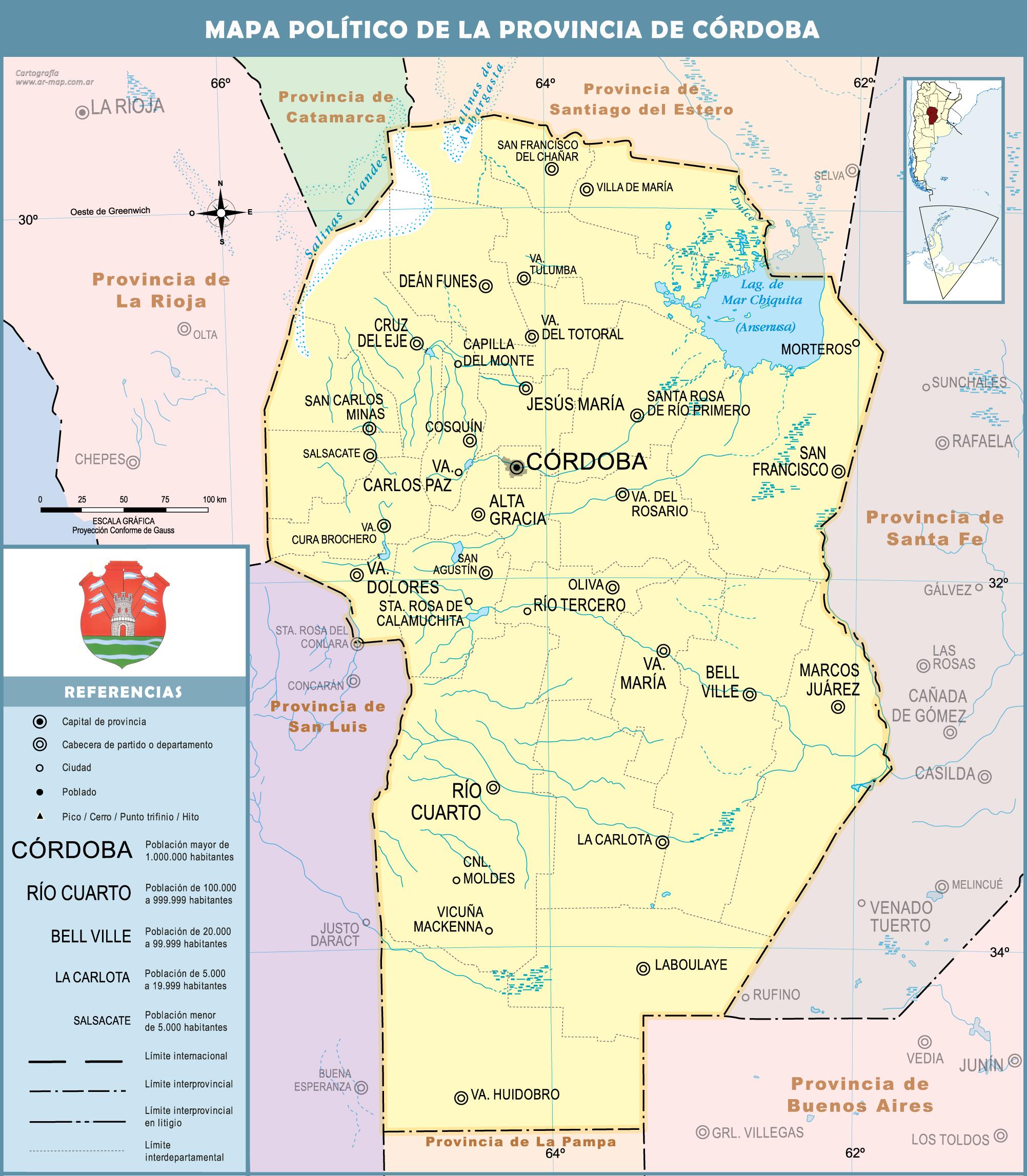 Mapa Provincia De Cordoba Politico.Mapas Gobierno De Cordoba