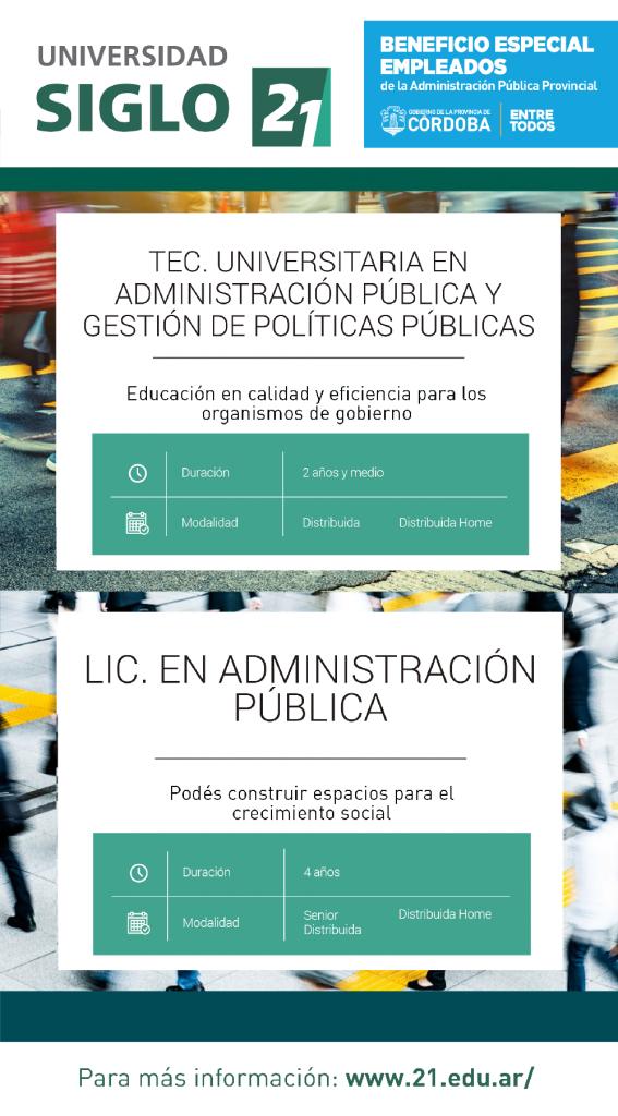Carreras de Administración Pública - Siglo 21